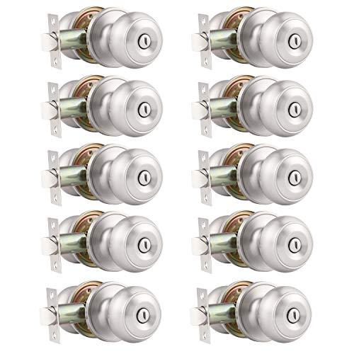 Probrico (10 Pack) Round Privacy Door Knob(Thumb Turn Lock on The Inside), Keyless Doorknobs Interior/Exterior Lockset,Privacy Knobs for Bedroom/Bathroom,Satin Nickel Modern Design Door Hardware