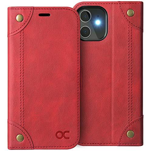 OCASE Custodia iPhone 12 Mini, Cover iPhone 12 Mini con Portatessere Interno TPU Antiurto Portafoglio [RFID Blocking] Custodia di Pelle Flip Cover per iPhone 12 Mini (5,4') (Serie Retro, Rosso)