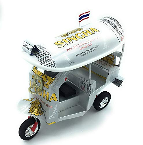 Fat Panda shop Thai TUK TUK Taxi Made Off SINGHA Beer can Aluminium modelCollectionshow in Room Home Office or Great Gift All seasion Put in Plastic Clear Box