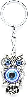 Muzuri Feng Shui Talisman Nazar Owl Blue Evil Eye Key Ring/Key Chain for Protection + Free Handmade Luck Red String Bracelet