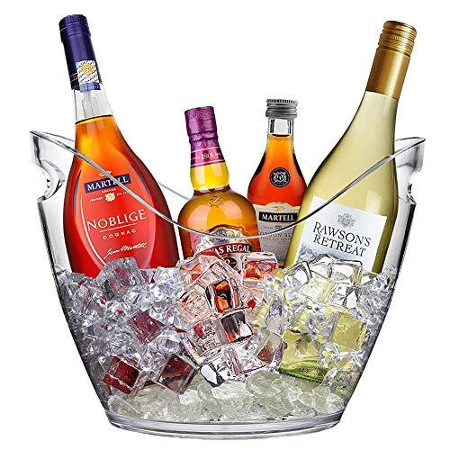 BEILENING 8L Eiseimer Champagner Eimer mit 2 Tragegriffen,EIS Eimer,Weinkühler Sektkühler,Große Eiskübel,Küchenobst und Gemüse Vorratsbehälter Behälter,Clear