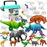Vanplay Juguetes Dinosaurios y Juguetes de Animales Set de Pintura con Caja de Almacenamiento para Nios 33 Piezas