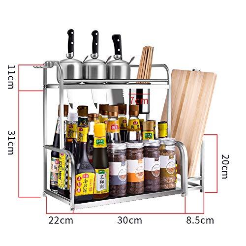 2-laags kruidenrek keuken aanrecht opslag rack grote capaciteit planken voor keuken benodigdheden opslag rek kruidenrek 2 lagen & 30cm + a