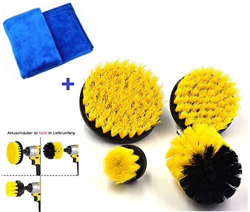 BremerLuft Drill Brush Bürstenaufsatz Bührsten Bohrbürsten Reinigungs Kit für Auto Bad Fliesen Teppich Haushalt (4 Teile + Mikrofasertuch)