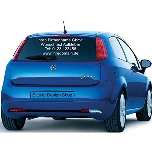 Sticker Design Shop Heckscheiben Beschriftung Wunschtext Schriftzug Aufkleber Autobeschriftung Auto Heckscheibe (60 cm 1 zeilig)