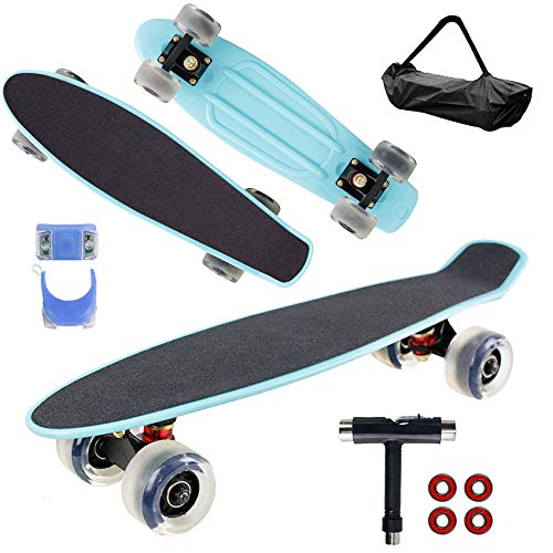 Geelife 22quot Complete Mini Cruiser Skateboard for Beginners Youths Teens Girls Boys Baby Blue