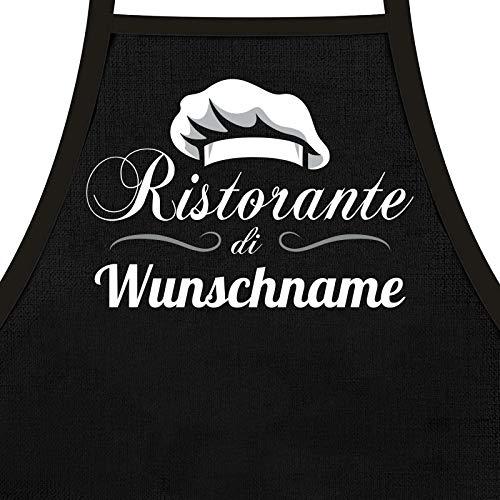 Kochschürze für Männer Ristorante di + Wunschname - als Geschenk Grillschürze oder Küchen Schürze personalisiert
