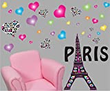 Girls Paris Wall Decals/Paris Wall Stickers Theme with Eiffel Tower Wall Decals with 30 Multicolored and Leopard Print Heart Wall Stickers