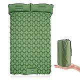 Almofadas de dormir infláveis para acampamento com almofada, tapete de ar para acampamento, cama de casal com bomba integrada, colchão de ar durável e impermeável de 6,35 cm de espessura, almofada de caminhada compacta ultraleve para barracas, viagens, mochilões