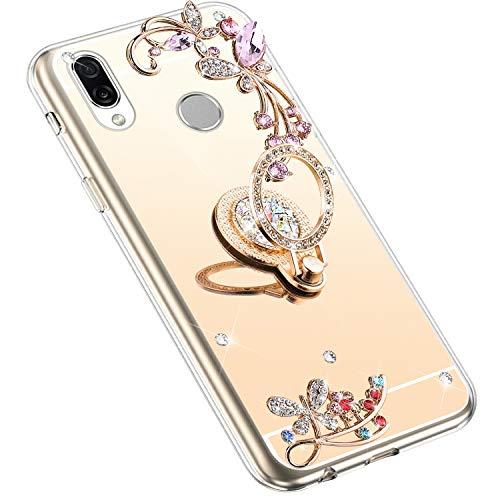 Uposao Kompatibel mit Huawei Honor Play Hülle Glitzer Spiegel TPU Schutzhülle Bling Strass Diamant Silikon Hülle Glänzend Kristall Blumen Silikon Handyhülle mit Ring Ständer Halter,Gold