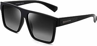 JIM HALO Retro Polarized Sunglasses Men Women Flat Top Square Driving Glasses