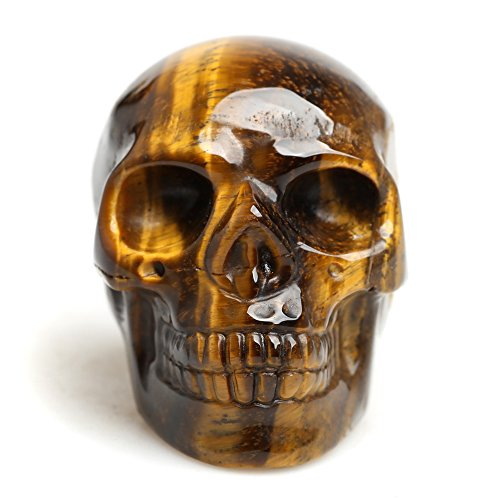 Healing Crystal Stone Human Reiki Skull Figurine Statue Sculptures Mixed Stone (Tiger Eye)