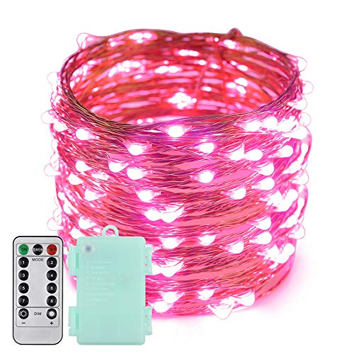 Erchen Battery Operated LED Fairy Lights, 66 FT 200 LED Dimmable Copper Wire LED String Lights with 13 Key Remote Control 8 Model Timer for Indoor and Outdoor Christmas Party (Pink)