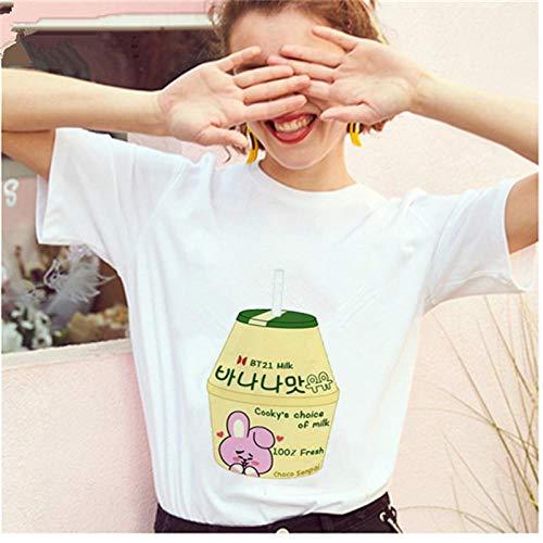 YDXC Camiseta De Mujer De Mayos Camiseta De Leche De Plátano Camiseta Coreana para Mujer Mini Gráfico De Dibujos Animados De Leche para Mujer Harajuku De Los Años 90 Top-11_L para Mujer