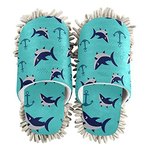 Zapatillas de limpieza de casa para mujer, con ancla de mar, con diseño de tiburón, para limpieza del suelo, para mujeres, hombres, niños, uso en interiores, multicolor, 41/44 EU