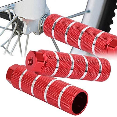 SALUTUYA Pie Trasero Redondo Pedalv Aleación de Aluminio Agujero Grande Luz y Agarre Compacto, para Bicicleta(Bazooka Rear Pedal Red (Large Hole Type))