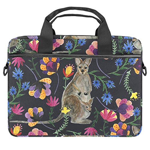 TIZORAX Laptop Bag Watercolor Kangaroo Flower Notebook Sleeve with Handle 15-15.4 inches Carrying Shoulder Bag Briefcase