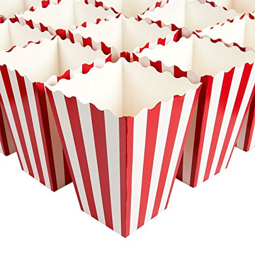 Set of 100 Popcorn Favor Boxes - Paper Popcorn Containers, Popcorn Party Supplies for Movie Nights, Movie-Themed Parties, Carnival Parties, Pirate Party, Red and White - 3.7 x 7.8 x 3.7 Inches