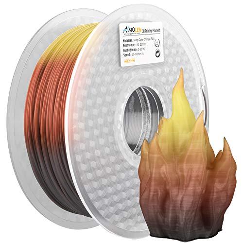 AMOLEN Stampante 3D Filamento PLA 1.75mm, Tre Cambi di Colore con Temperatura, Nero a Marrone a Giallo, 1KG,+/- 0.03mm,Materiali di Stampa 3D per Stampante 3D e Penna 3D
