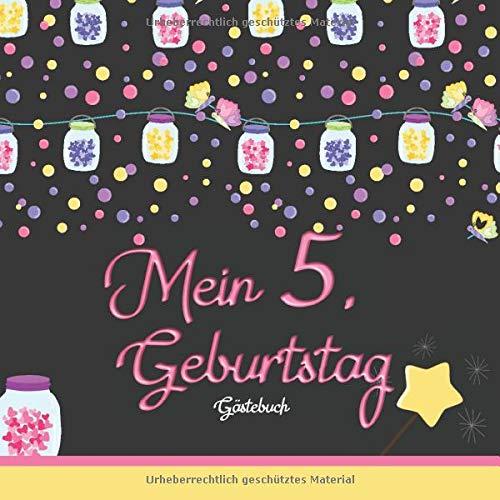 Mein 5. Geburtstag: Gästebuch I Girlanden & Lampions I für 60 Gäste I Geschriebene Glückwünsche...