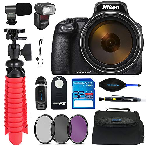 """Nikon Coolpix P1000 16.7 Digital Camera with 3.2"""" LCD, Black with Tripod, Memory Card, Flash, Mic, Remote, Filter Kit and Other Essential Accessories"""