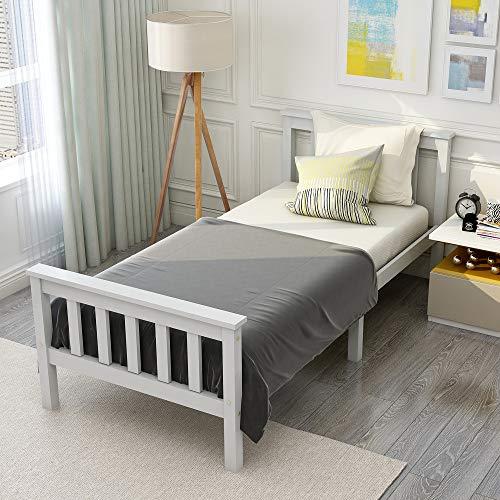 JIESD-Z Marco de cama doble de madera de pino macizo blanco para adultos, niños, adolescentes