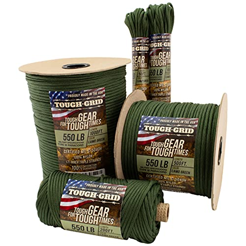 TOUGH-GRID 550lb Camo Green Paracord / Parachute Cord - 100% Nylon Mil-Spec Type III Paracord Used by The US Military, Great for Bracelets and Lanyards, 1000Ft. - Camo Green