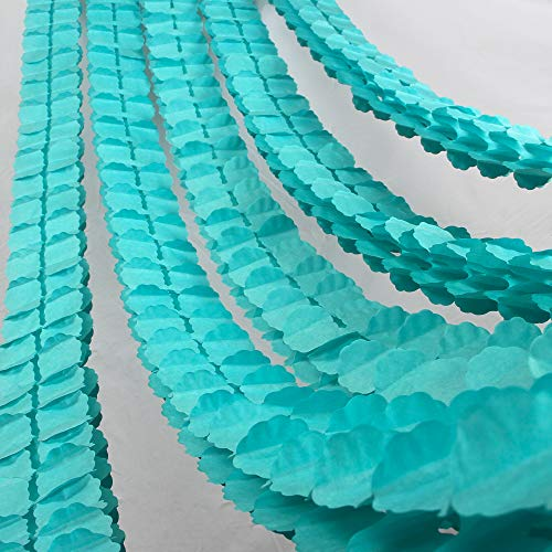 Colored Four-Leaf Clover Garland Party Streamers Tissue Paper Hanging Flower Garland for Party Decoration (Light Blue)