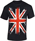 T-Shirt: Union Jack - England Flagge Shirt für Herren Damen Mann Männer Frau-en - Großbritannien UK United Kingdom Great Britain British Fussball Punk London Biker Vintage Fahne...