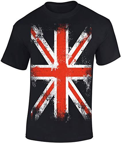 T-Shirt: Union Jack - England Flagge Shirt für Herren Damen Mann Männer Frau-en - Großbritannien UK United Kingdom Great Britain British Fussball Punk London Biker Vintage Fahne Geschenk-Idee (XXL)