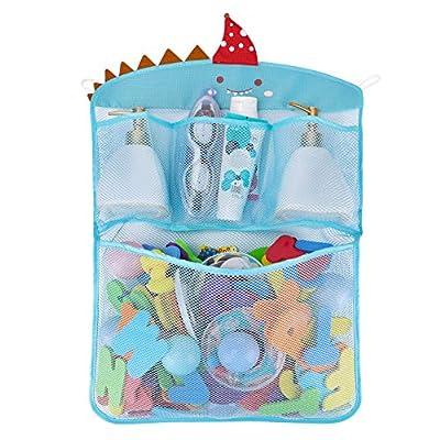 Free Swimming Baby Bath Toy Organizer Set,Quick Drying Mesh Net for Toddler Bathtub Games Holder (Blue)