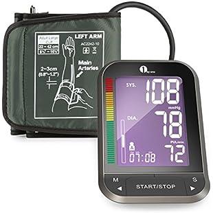 1byone Upper Arm Blood Pressure Monitor with Wide-Range Cuff, Large Backlit LCD, Memories for 2 Users, Irregular Heartbeat Detector - Black:Kumagai-yutaka