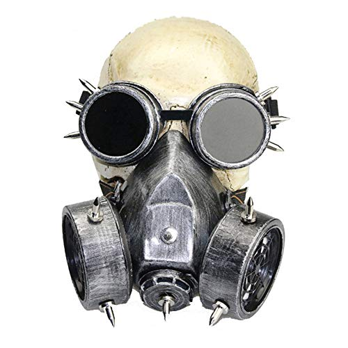 XXLLQ Gasmaske Brille Party Maske, Grusel Leuchtende für Halloween Fasching Karneval Party Gruselige Kostüm Cosplay Dekoration, Atmungsaktiv,Halloween Requisiten Geschenk,Silver