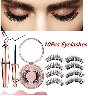 Petansy Magnetic False Eyelash Set Waterproof Long Lasting Magnetic Eyeliner Natural Ultra Thin Reusable False Eyelashes Kit (C)
