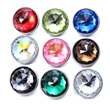 Soleebee 60 Facets Crystal Glass Snap Buttons Jewelry Charms (Pack of 9)