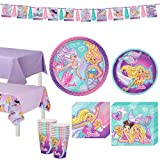 Party City Iridescent Barbie Mermaid Birthday Party Supplies for 16 Guests, Include Plates, Napkins, and Decorations