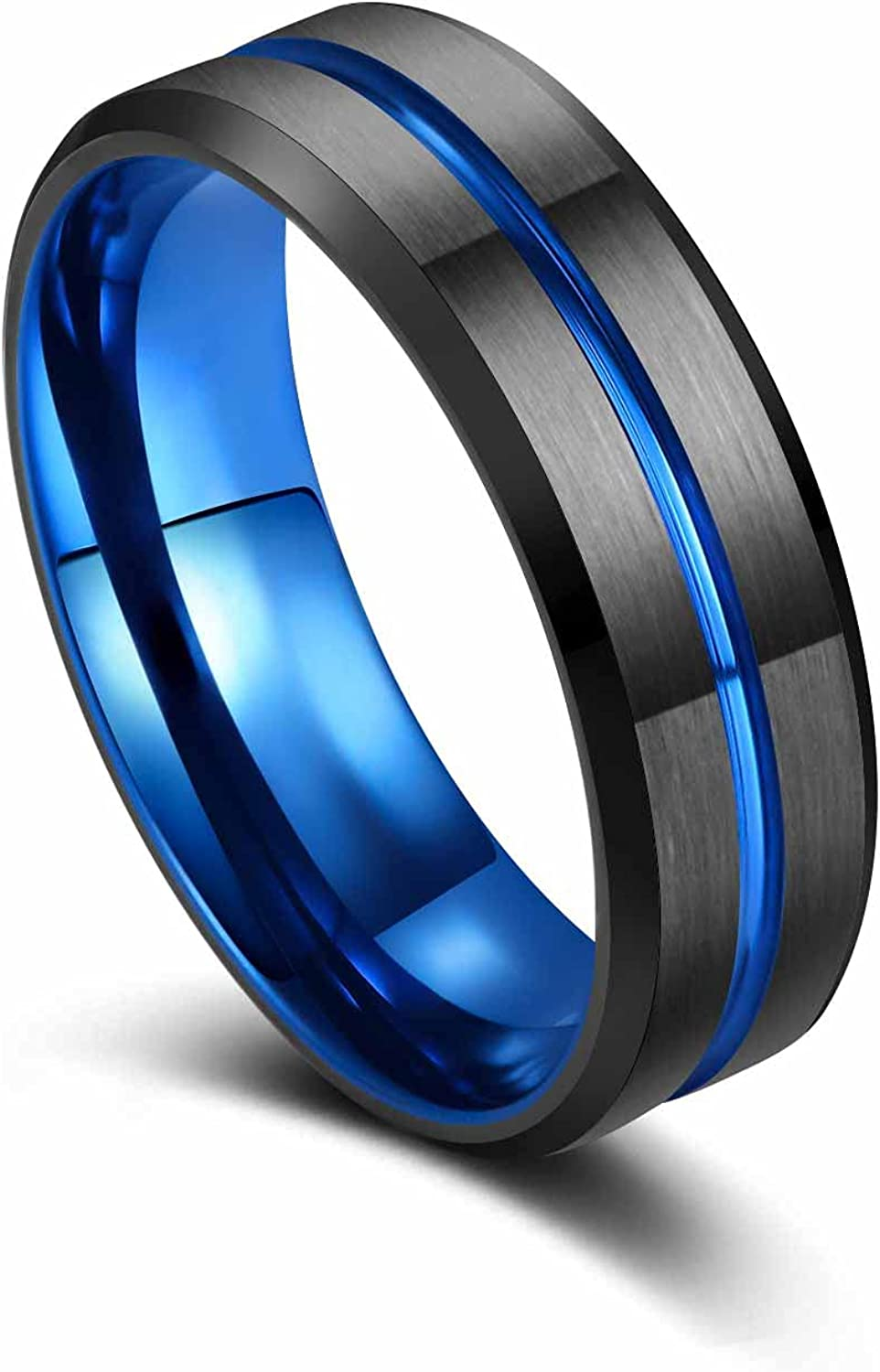VQYSKO Men Tungsten Ring Wedding Band-Classic 8mm Step Edge , Matte Brushed Finish Centre Groove Comfort Fit , Thin Blue Size 5-15