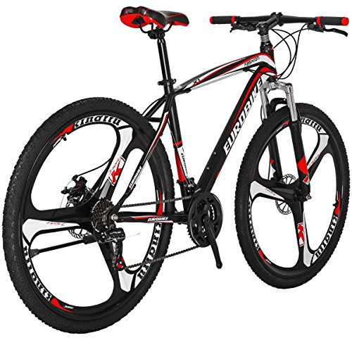 Moutain Bike TSMX1 21 Speed MTB 27.5 Inches Wheels Dual Suspension Mountan Bicycle (K-red)