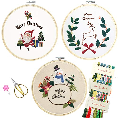 Minone 3 Pack Embroidery Kit for Beginners, Full Range of Stamped Embroidery Sets with Christmas Patterns and Instructions, Cross Stitch Kits with 3 Embroidery Clothes, 1 Bamboo Embroidery Hoops