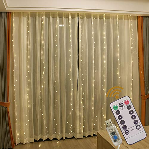 GUOCHENG Copper String Curtain Lights LED 3mx3m Curtain Fairy Lights USB Powered Window Light Strings with Remote Control for Home Bedroom Patio Wedding, Indoor Outdoor Decorations-Warm White