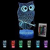 Luce notturna a LED 3D per bambini con gufo, luce d'atmosfera con telecomando, lampada da comodino, 7 colori, interruttore touch, lampada da scrivania, regalo di compleanno