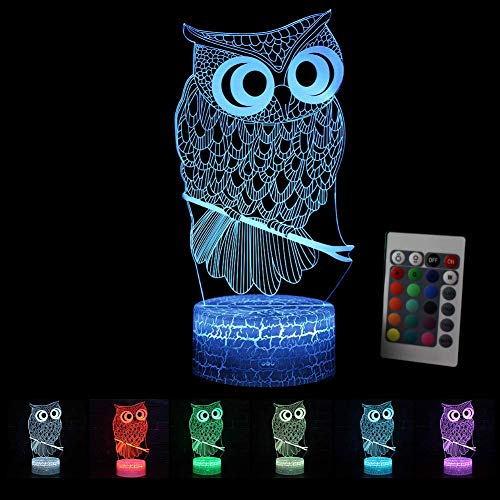 3D Optical Illusion Lamp Night Light LED Kids Owl Mood Light Remote Control Bedside Table Lamp Touch Switch Colors Change Birthday Gift (Multi-Colored-1)