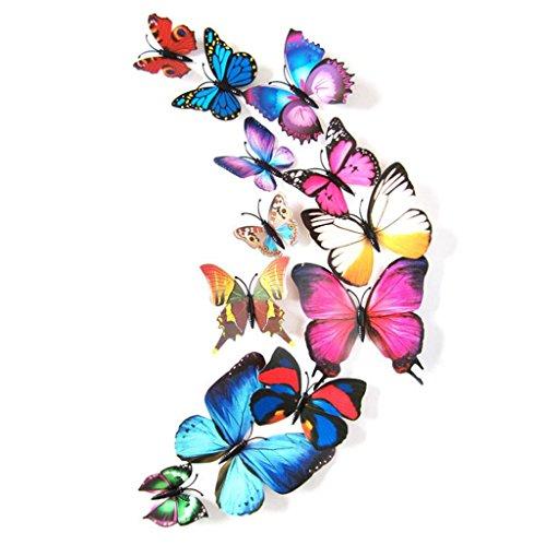 Vovotrade 12pcs papillon 3D coloré Autocollants décoratifs Décorations pour la maison