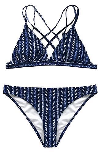 CUPSHE Strappy Sein Marine Und Weiß Bikini Set, M