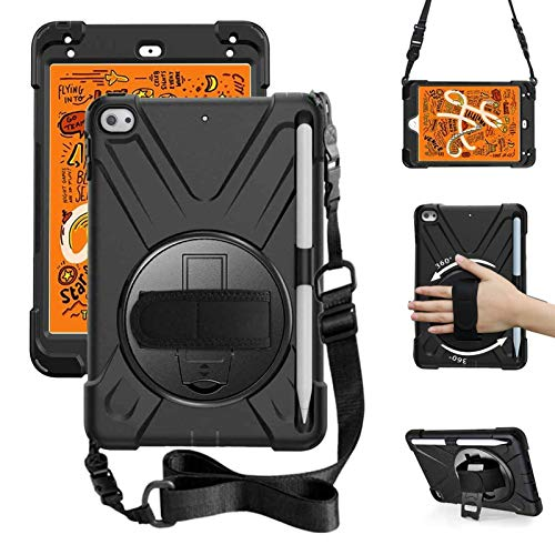 ZenRich iPad Mini 5 Case 2019 iPad Mini 4 Case 2015 zenrich Heavy Duty Shockproof Rugged Case with Pencil Holder Kickstand Hand Strap Carrying Shoulder Belt for iPad 7.9 inches, Black