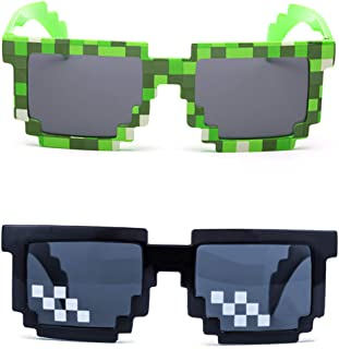 kilofly 2pc 8-Bit Pixel UV Protect Gamer Sunglasses Adult Kids Party Favors