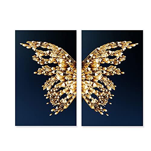 Hermoso Conjunto de alas de Mariposa abstractas, póster, Lienzo, Pintura, Arte de Pared, Impresiones, Imagen para decoración del hogar del Dormitorio - (60x80cm) x2pcsNoFrame