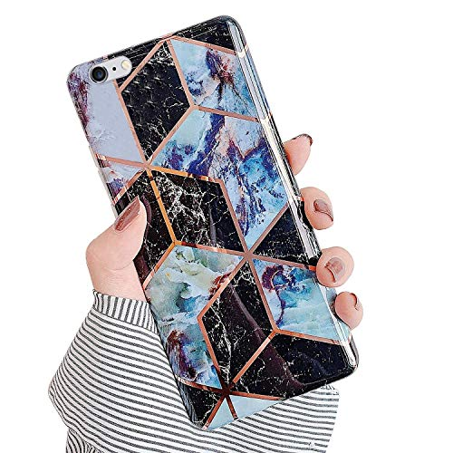 QPOLLY Hoesje voor iPhone 6 Plus iPhone 6S Plus, Marmer Patroon Ontwerp Zachte Siliconen TPU Gel Huid Shockproof Bumper Cover Girly Ultra Dunne Slim Fit Back Case Cover, Blauw