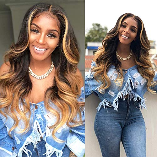 Wave 13X4 Lace Front Wigs Human Hair Ombre Wig 3 Tones Color 1B/4/27 Human Hair Wigs for Black Women Pre Plucked Lace Front Wigs Human Hair with Baby Hair (16 Inch Middle Part)
