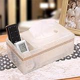 Caja de tejido multifunción europea Caja de estar creativa Tabla remota Control remoto Caja de almacenamiento Bandeja de escritorio Bandeja de papel Resina de papel Toalla de papel Negro tissue box